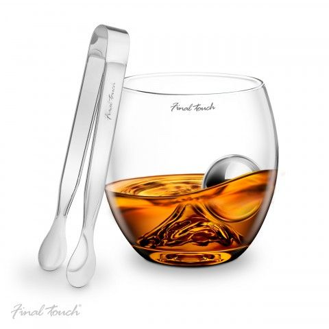 Final Touch On The Rock Whisky Glass Stainless Steel Ball & Tongs