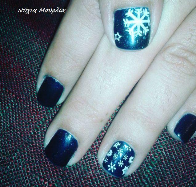 Shellac~midnight swim~nailstamping~nailart~snowflakes~blue nails
