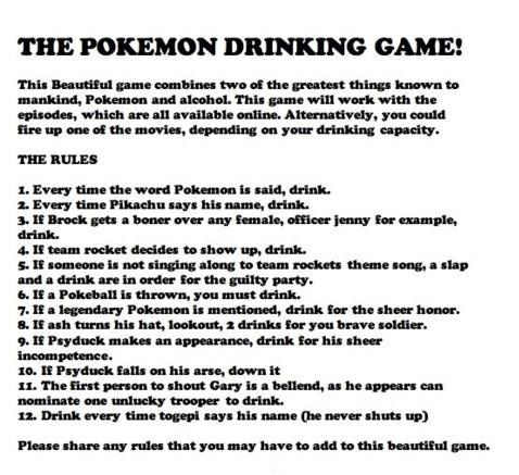 Pokemon drinking game