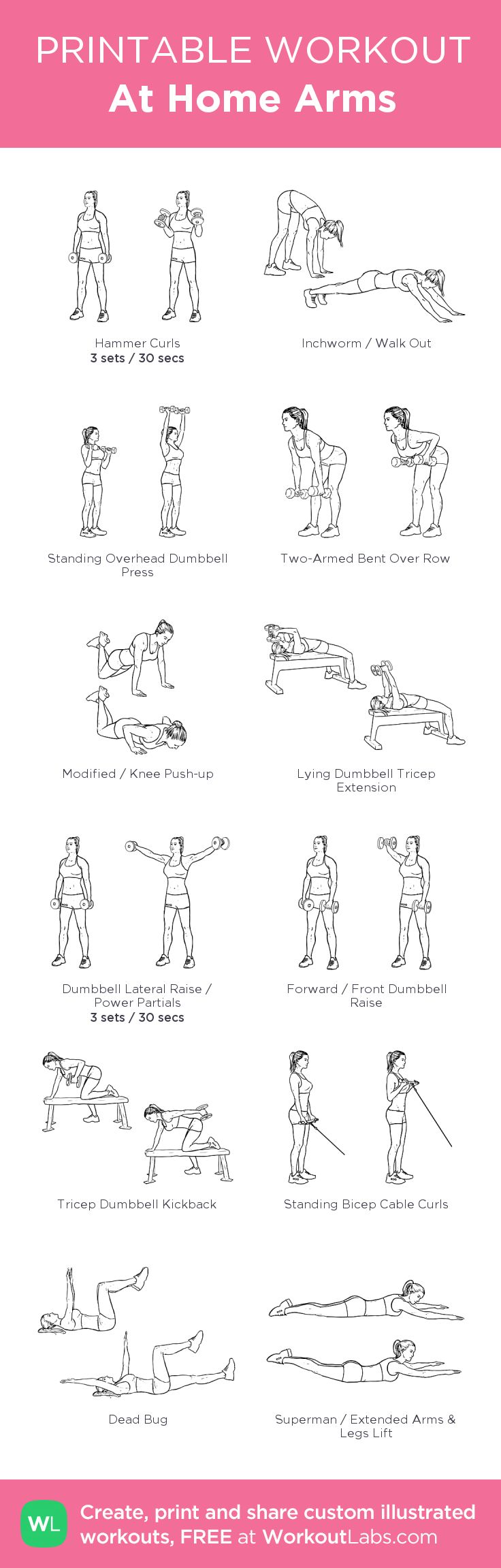 At Home Arms: my visual workout created at WorkoutLabs.com • Click through to customize and download as a FREE PDF! #customworkout