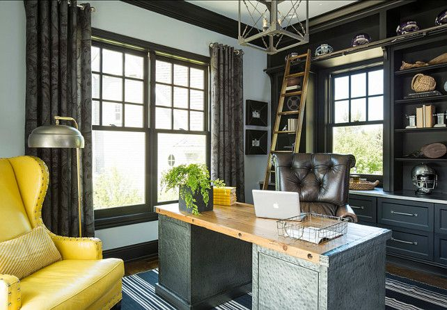 "#Masculine home Office #Office Paint Color is ""Metallic Silver 2132-60 by Benjamin Moore""."