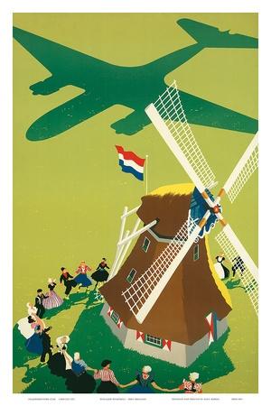 KLM Royal Dutch Airlines: Holland Windmill, c.1945 Poster van Paul Brillens bij AllPosters.nl