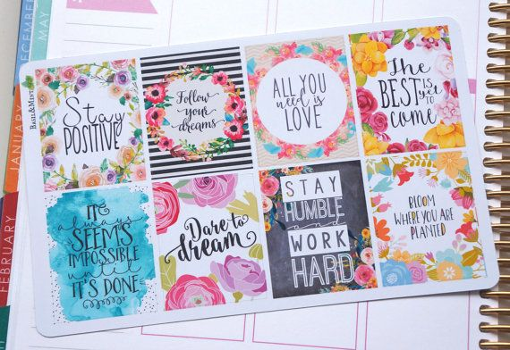 8 Motivational Quotes Volume 4 Full Boxes Planner by BasilAndMint