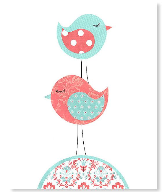 Nursery Art Print Bird Aqua and Coral Girl's by SweetPeaNurseryArt, $15.00