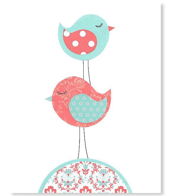 Kindergarten Kunstdruck Vogel Aqua und Coral Room Decor Mädchen Baby Dusche…