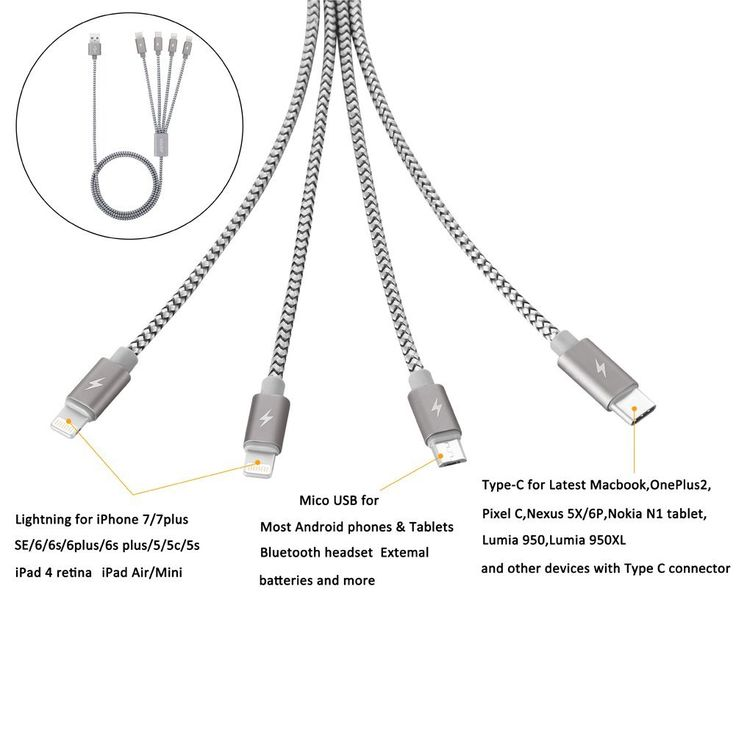 Amazon.com: Multi USB Cable, JASTEK 3.3 Feet (1M) 4 in 1 Braided Multiple Charging Cable Alluminum Adapter Connector with Type C, 2x 8 Pin Lighting, Micro USB for Universal Use - Alluminum Grey: Computers & Accessories
