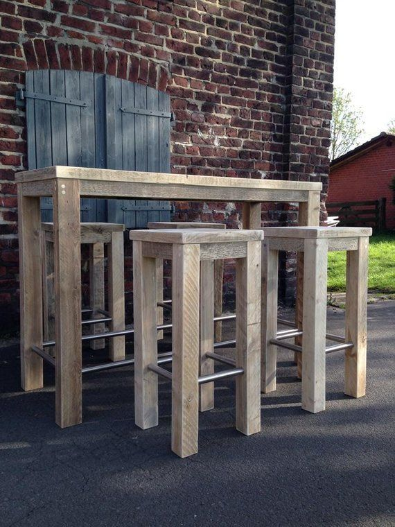 Bauholz Stehtisch Hocker Kombination Upcycling Bar Table Pallet Furniture Outdoor Bar Stools