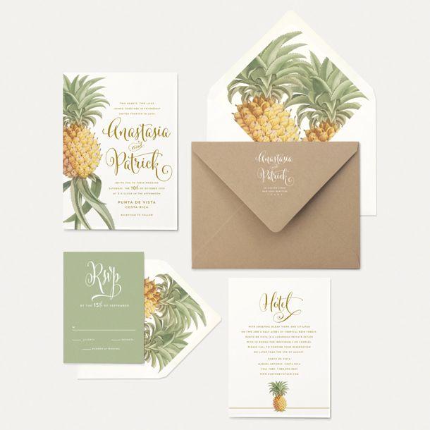 Oak & Orchid pineapple botanical wedding invitation suite | Inspiration Board: Tropical Elegance | SouthBound Bride | http://www.southboundbride.com/inspiration-board-tropical-elegance