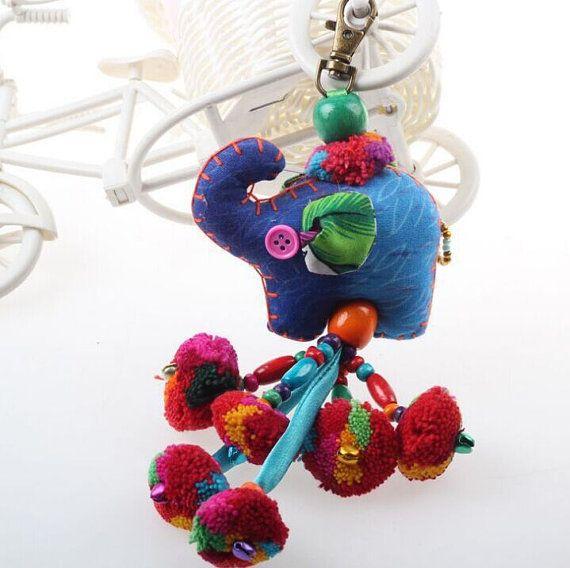 Charme Zip Pull tas accessoires Pom Pom gordijn houder decoratie handgemaakt door HMONG handgemaakte sjamaan Bells