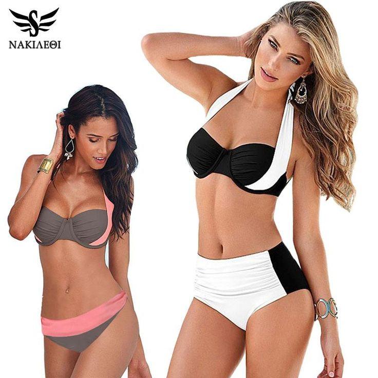 Women Swimsuit High Waiste Bathing Halter Push Up Bikini Set Plus Size Swimwear 4XL