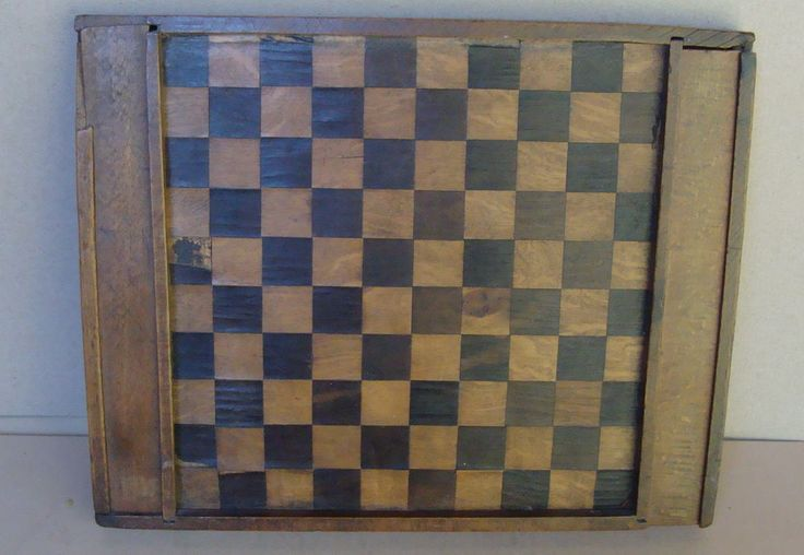 19th C double sided game board, veneered, with original checkers, no reserve *