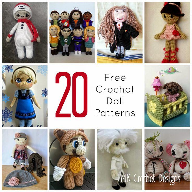 Free Crochet Pattern Round-Up: Dolls. amigurumi, elsa, Mario, big bang theory.