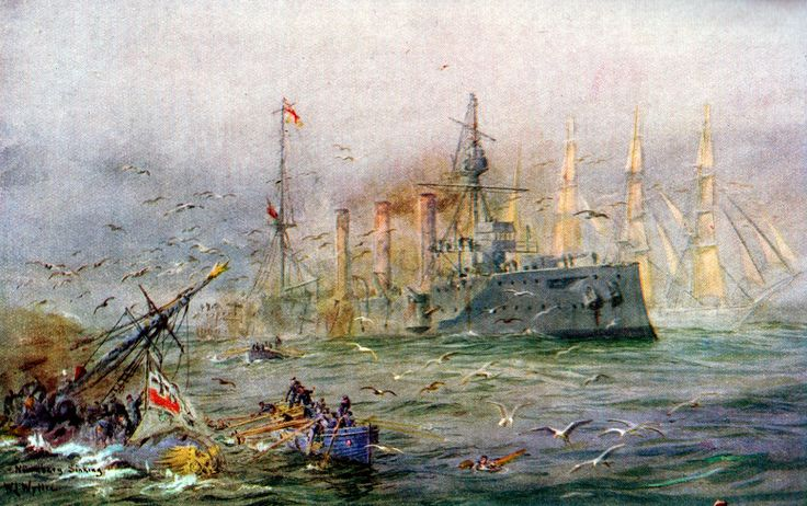 sailing ship passing hms kent and sms n252rnberg the battle