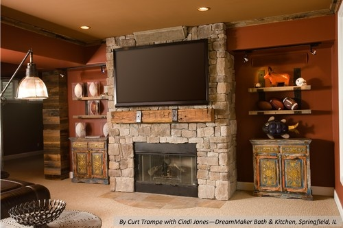 40 Stone Fireplace Designs From Classic To Contemporary Spaces: Floating Timber Mantel With Steel Straps