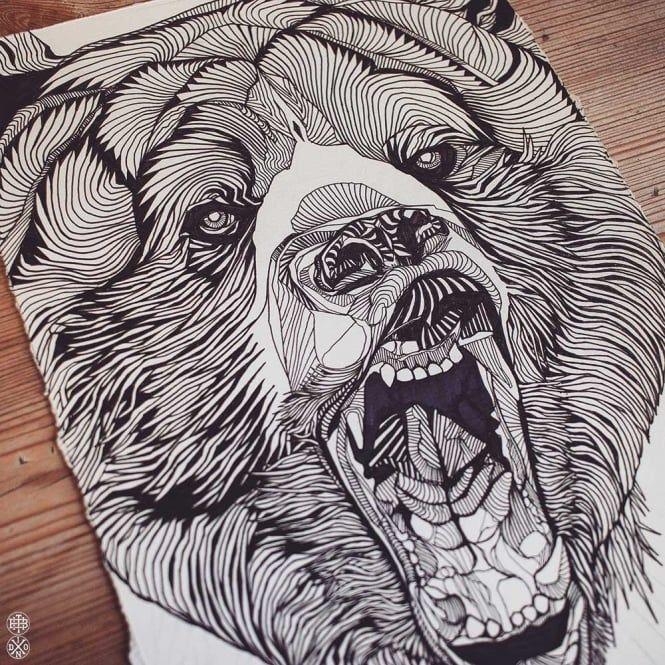 LUKE DIXON - SHOUTING BEAR - Original Artwork - Ink Drawing