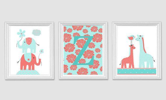 Baby Girl Nursery Monogram Print Zoo Nursery by SweetPeaNurseryArt