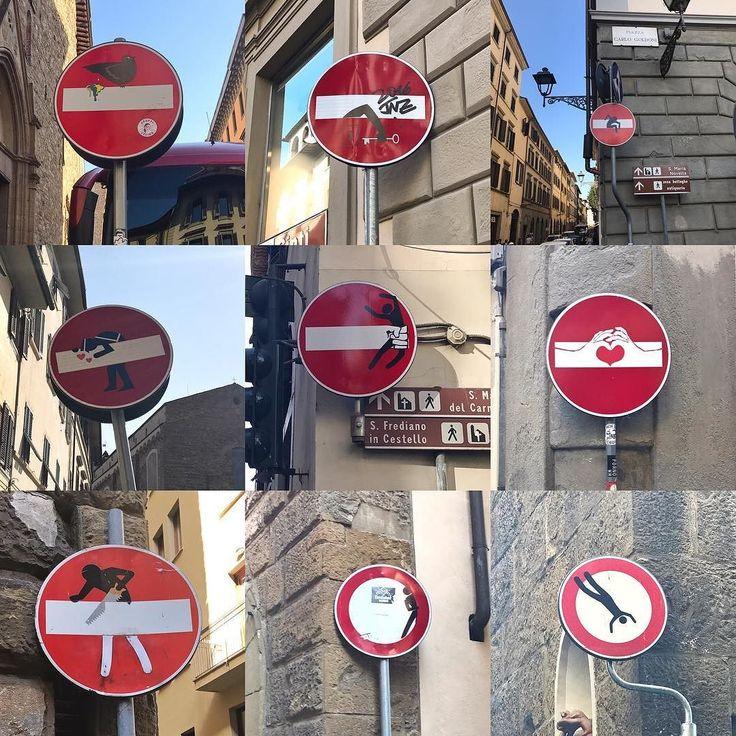 Znaki drogowe we Florencji to sztuka sama w sobie. Przyjrzyjcie się im z bliska. Jest ich cała masa w tym mieście a co jeden to lepszy  #psc #paniswojegoczasu #florencja #firenze #toskania #wlochy #włochy #wakacje