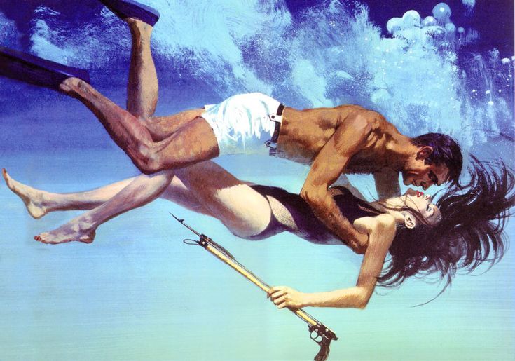 honey-rider:  Robert McGinnis Bond and Domino illustration for Thunderball, 1965
