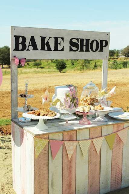 How to build your own vintage bake shop or lemonade stand.- our lemonade stand looks just like this but yellow. Now we have another great idea of baked goods!