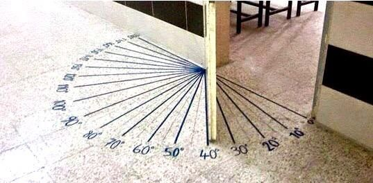 Marking angles under a hinged door is a great way to develop 'angle-sense'. Marking them under a ceiling fan is not.