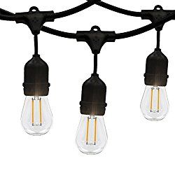 Outdoor String Lights,WONFAST Commercial Weatherproof E26 Edison Bulbs Style 33-Feet LED String Lights with S14 10 Bulbs and 10 SOCKETS