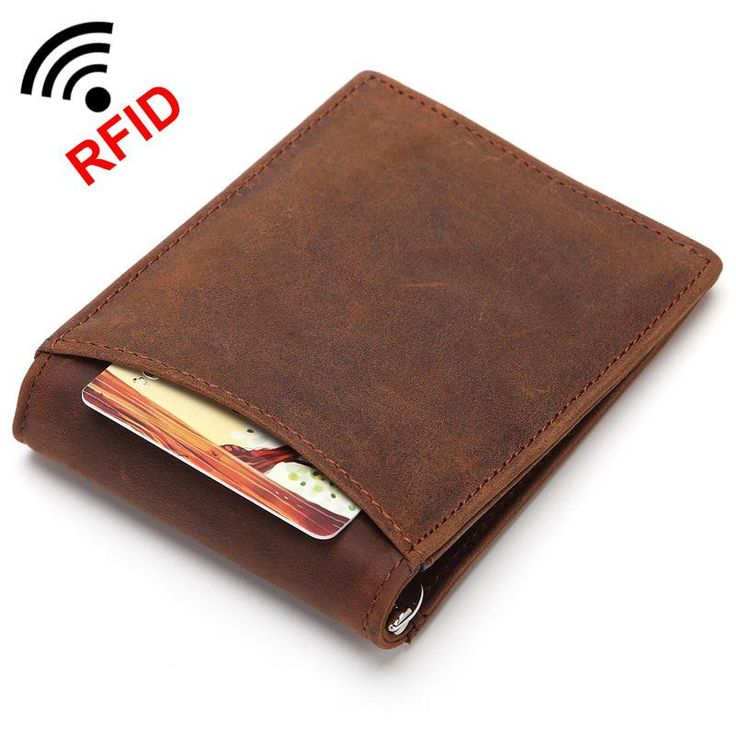 Mens RFID Blocking Genuine Leather Money clip Wallet Purse Men
