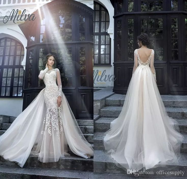 Milva Bridal Wedding Dresses 2018 Sexy Wedding Dresses with Detachable Train Sheer Long Sleeves Low Back Lace Mermaid Bridal Gowns
