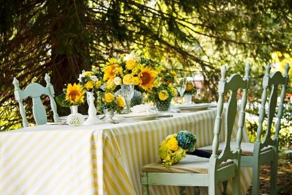 Yellow Centerpiece Sunflower Wedding Flowers Photos & Pictures - WeddingWire.com