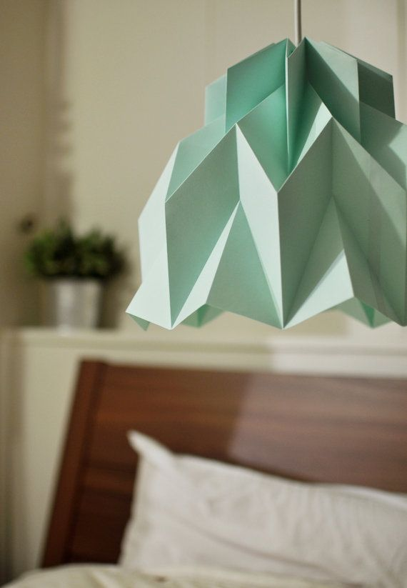 RUFFLE Origami Paper Lamp Shade Mint / FiberStore by FiberStore (Etsy)