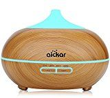 Aickar 300ml Essential Oil Diffuser Wood Grain Aromatherapy Diffuser Ultrasonic Cool Mist Humidifier with Night Light & Auto Shut-off Function for Office & Bedroom Baby Room Study Yoga Spa