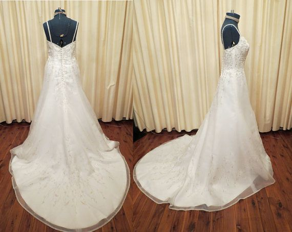 Vintage Sexy Elegant Off White Wedding Dress with Long Train and Glass Bead and Embroidered Details on Etsy, $765.00