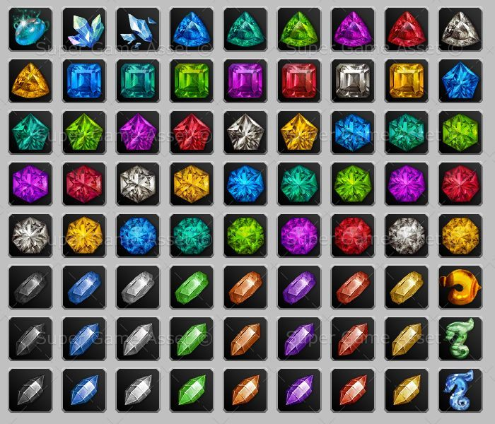 Fantasy Gems Set - These gem icons, contain wide variety of gems and crystal of different shapes and colour. Can be renamed to match the gems or items in your game.