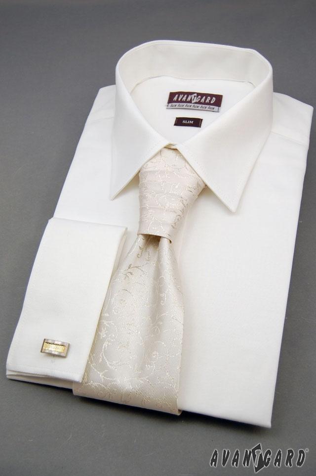 Pánská košile se zdobenou regatou a manžetovými knoflíčky AVANTGARD