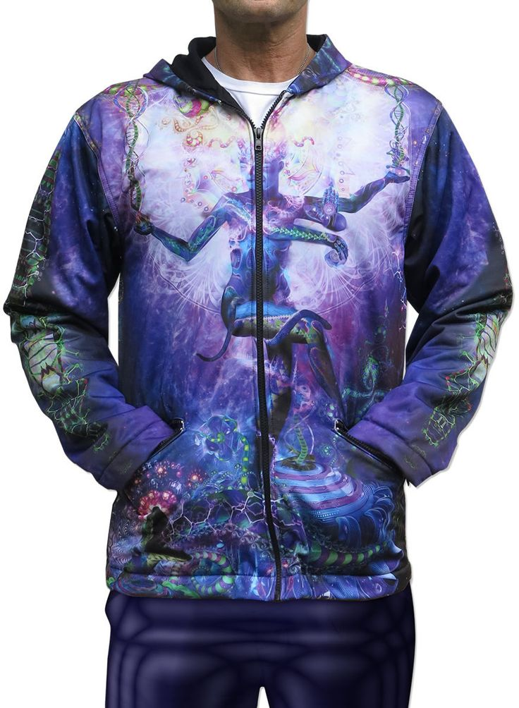 Sublime Hooded Jacket : Serpentine Apotheosis Printed using sublimation on a high quality polyester fleece. This allows for extremely vibrant colors that will never fade away, no matter how many times the jacket is washed, and results in an extremely soft 'feel' to the jacket, providing ultimate comfort. Fully lined with black fabric. 2 outside zip pockets and 2 inside zip pockets. Secret stash pocket label ! Not printed with UV inks, but printed on UV active fabric, Artwork by Hakan…