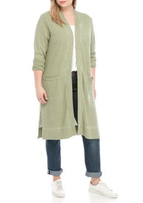 True Craft Women Plus Size Waffle Duster - Olive Leaf - 1X 11