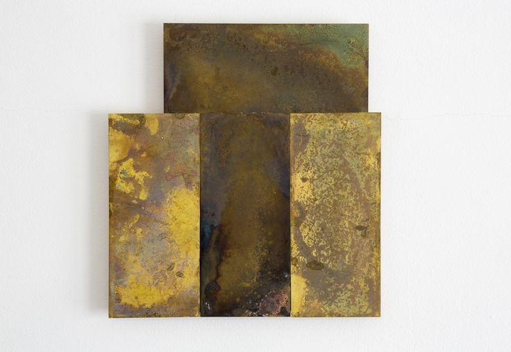 Stephen Bambury, Seven Days (V), 2014, chemical action on four brass plates, 244 x 226 mm