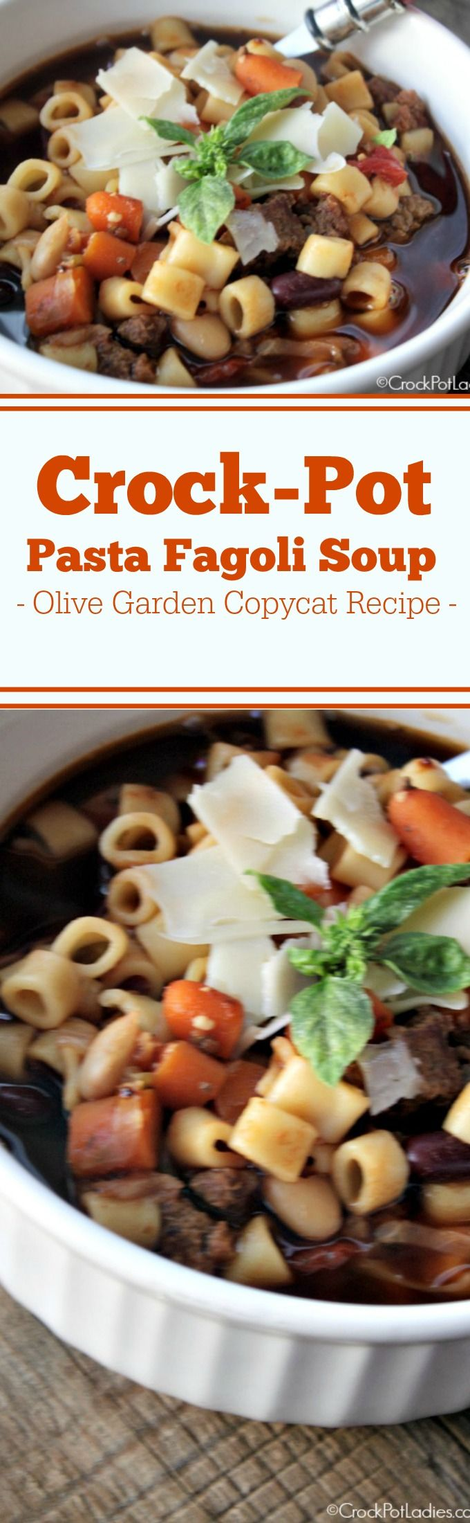Crock-Pot Pasta Fagoli Soup (Olive Garden Copycat Recipe) - If you love the Pasta Fagoli Soup at Olive Garden restaurants you are going to LOVE this copycat version that you can make in your slow cooker! This recipe for Crock-Pot Pasta Fagoli Soup is warm and hearty full of flavorful vegetables, beans, ground beef and pasta all swimming in a delicious Italian broth! | CrockPotLadies.com via @CrockPotLadies