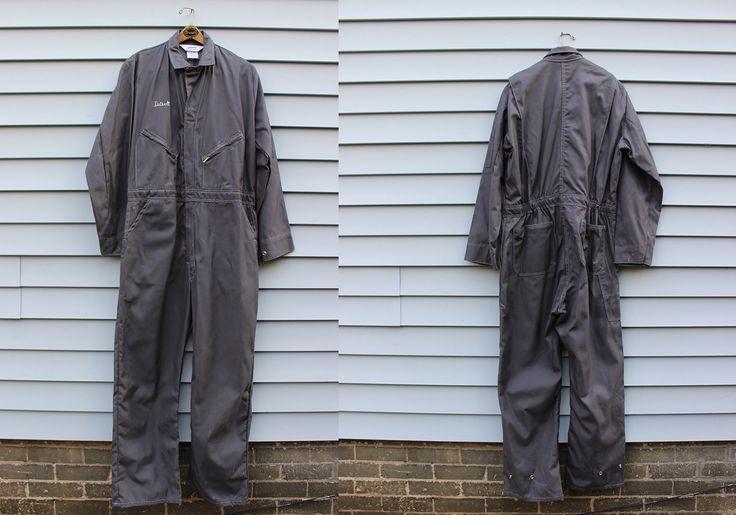 Vintage Vtg 1970's 70's DELBERT Grey Flame Proof Union Suit Boiler / Mechanic / Coveralls Zip Up Retro Welder Cotton 44 Regular Men's by foxandfawns on Etsy