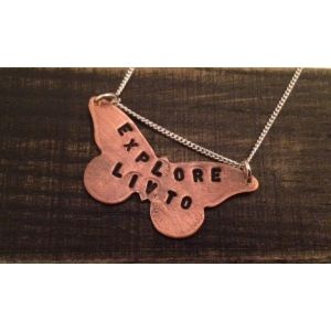 Fly away with these Livto butterfly necklaces....  This bohemian and vintage inspired necklace by Livto is perfect for those dreamers wishing to mark their imprint on the world. Choose what you live to and have our jewellers make your Livto necklace in either copper or silver by hand....just for you. Why not add initials to your necklace to give it that personal touch?* It's time to spread your wings and believe in what you Livto.