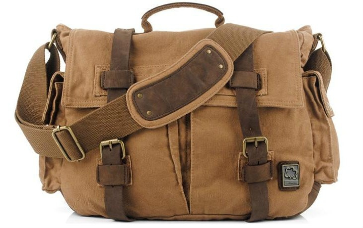 "Men's Italian Style ""Colonial 2"" Large Vintage Canvas Messenger Bag - Khaki Tan - ModernManBags.com"
