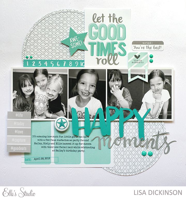 #papercraft #scrapbook #layout - Elle's Studio April 2015 Kit Layout by Lisa Dickinson.