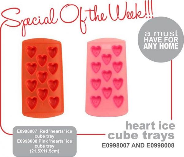 Heart Ice Cube Tray A must have for any home E0998007 Red 'hearts'  ice cube tray E0998008 Pink 'hearts' Ice cube tray