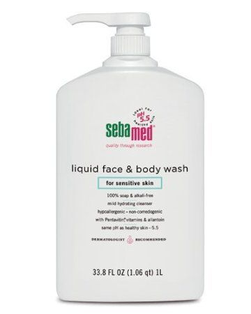 Sebamed Face and Body Wash, 33.8-Fluid Ounces Bottle. I picked mine up in Walmart. They put this in the acne wash section. It balances the skin. I started using it for my face chest and back. I get summer heat rash/keratosis pilaris (those red bumps) during the summer. My skin has never cleared this fast/not been dry/irritated and been silky smooth. The smell of this wash is amazing and really does balance combination skin.