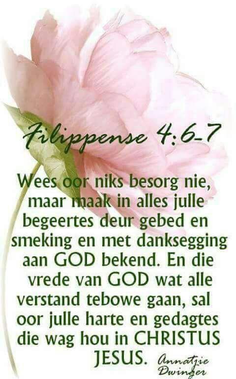 ... en die vrede van God wat alle verstand te bowe gaan, sal hulle harte en sinne bewaar in Christus Jesus | Filippense 4:7 | Afrikaans is wonderlik