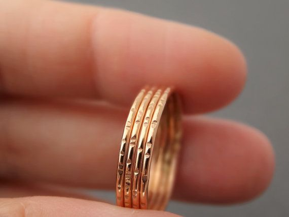 Rose Gold Rings thin gold rings delicate notched by bluebirdss
