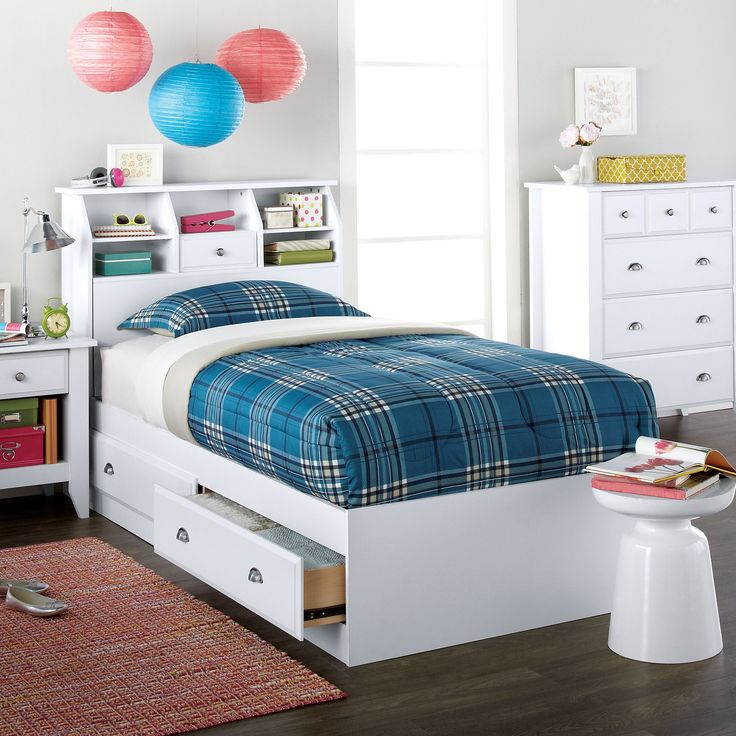 This bedroom ensemble with built in #storage is just the right size for your dorm room. #back2campus #searscanada