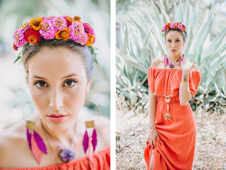 frida kahlo inspired wedding bridesmaid zinnia flower crown