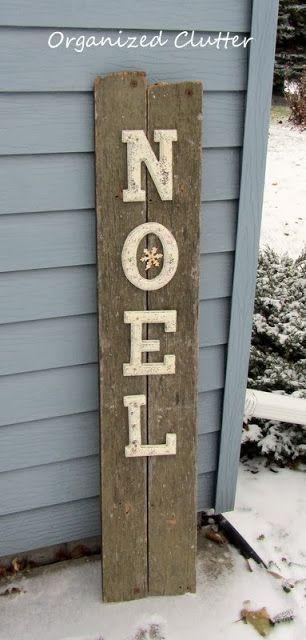 Thrift Shop Letter & Junk Wood Noel Sign www.organizedclutterqueen.blogspot.com