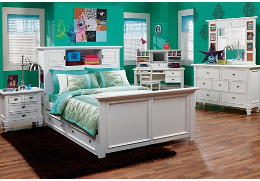 picture of Belmar White 6 Pc Full Bookcase Bedroom  from Teen Bedroom Sets Furniture