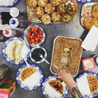 When waffle day turns into a continental breakfast! Here at DK we're definitely foodies. 🍳🥓🥖🍓🍌🍪☕️🍰🍶🥐 #officefun #officefun #hungry #happyfriday #breakfast #officefood #letsdothis #waffles #fridayvibes #redlands